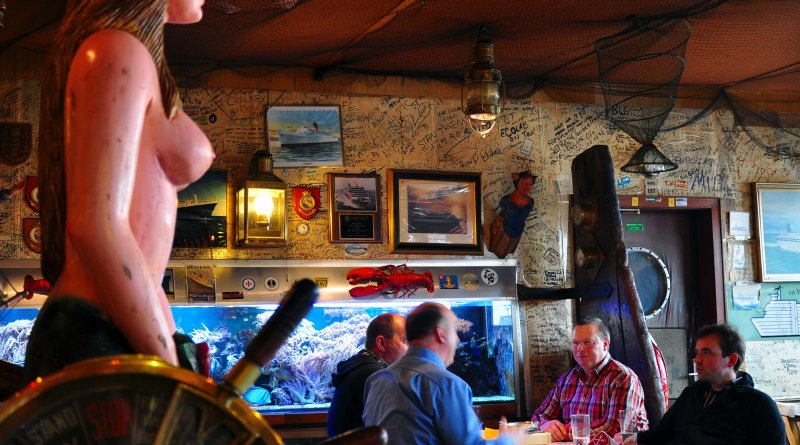 """Nicknamed """"The Last Bar Before New York,"""" the Treffpunkt Kaiserhafen is a workingman's bar and restaurant near the ship terminal in Bremerhaven. Photo by Katherine Rodeghier, c 2012"""