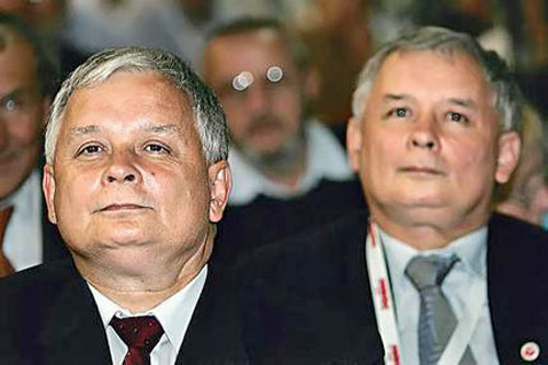 Lech and Jarosław Kaczyński - identical twin brothers and leaders of the Law and Justice party