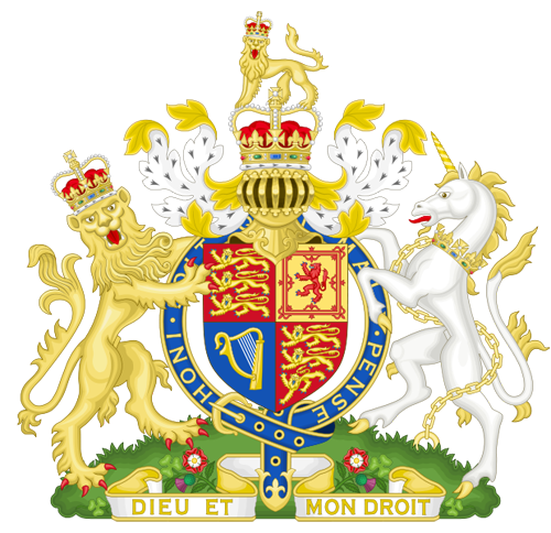 Royal Coat of Arms of the United Kingdom By Sodacan         This vector image was created with Inkscape. (Own work) [GFDL (http://www.gnu.org/copyleft/fdl.html) or CC-BY-SA-3.0-2.5-2.0-1.0 (http://creativecommons.org/licenses/by-sa/3.0)], via Wikimedia Commons