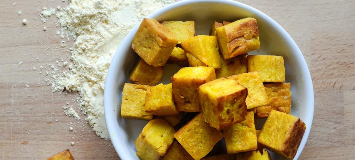 Burmalainen tofu & kikhernekrutongit