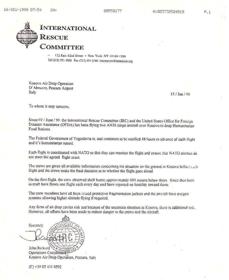 Recommendation letters  Valan ICC  Air charter services by
