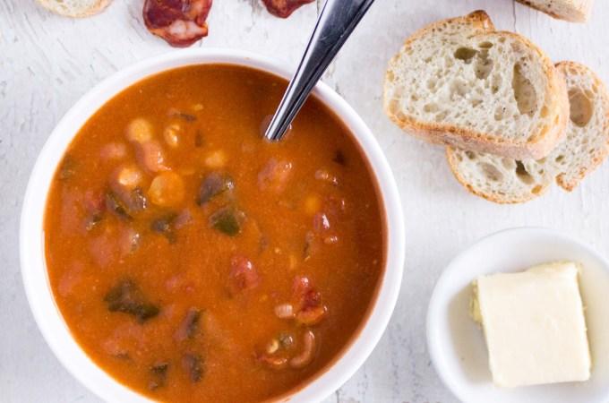 Chorizo soup with chickpeas