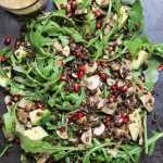 warm lentil & pomegranate salad with an oil-free vinaigrette - vegan