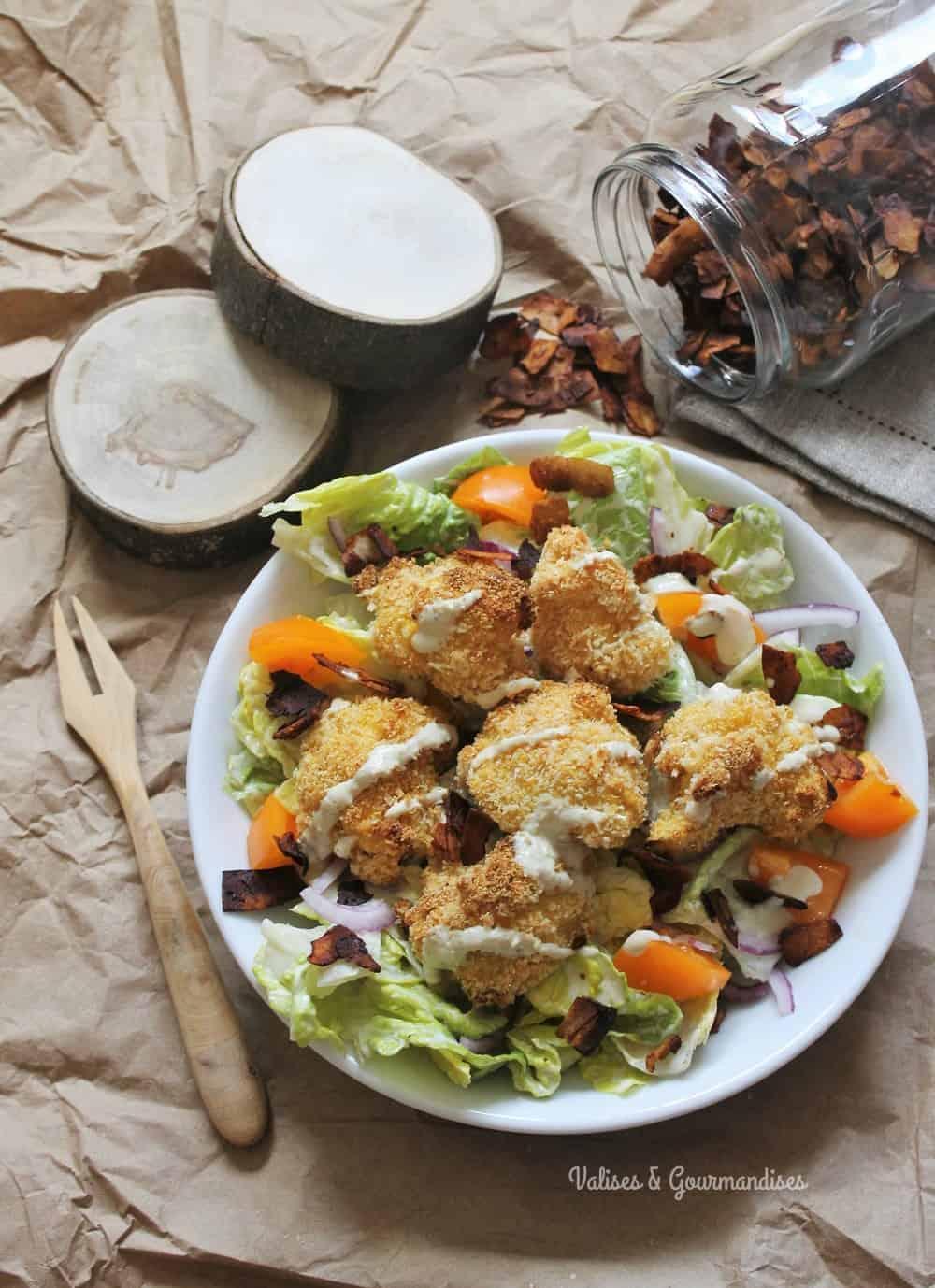 Vegan caesar salad with oven-baked cauliflower