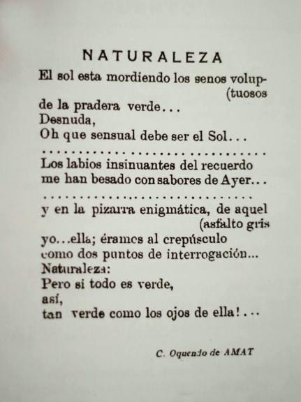 Primer poema publicado de Carlos Oquendo de Amat en la revista Bohemia azul N 1, Lima 16 de setiembre de 1923. facebook carlos oquendo de amat