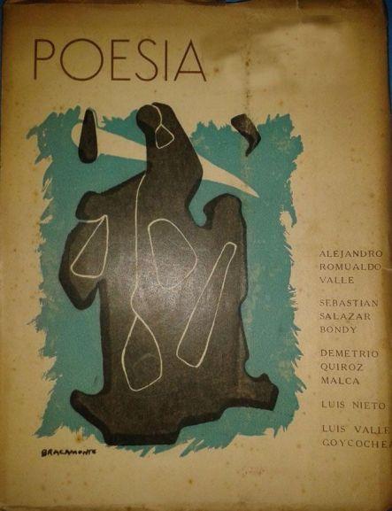 """Libro que reúne a varios poetas peruanos, entre ellos a Alejandro Romualdo y su libro """"la torre de los alucinados"""" 1949."""