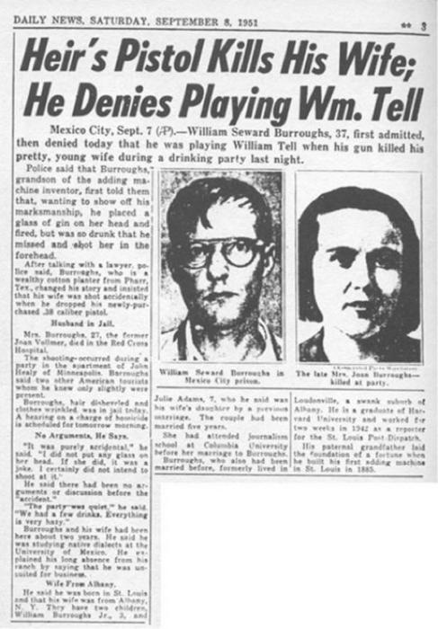 El asesinato de Joan Vollmer en manos de William Burroughs ocupó espacios en la crónica policial de los Estados Unidos y México. Esta es la nota aparecida el 8 de setiembre de 1951 en el Daily Mirrow. Sería solo uno de los asesinatos en la historia de la Generación Beat.