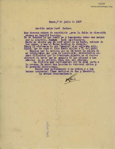 """Carta de respuesta de Luis E. Valcárcel a su amigo y editor José Carlos Mariátegui a propósito de la 1era publicación de su libro """"Tempestad en los Andes"""" por Ed. Minerva en 1927."""