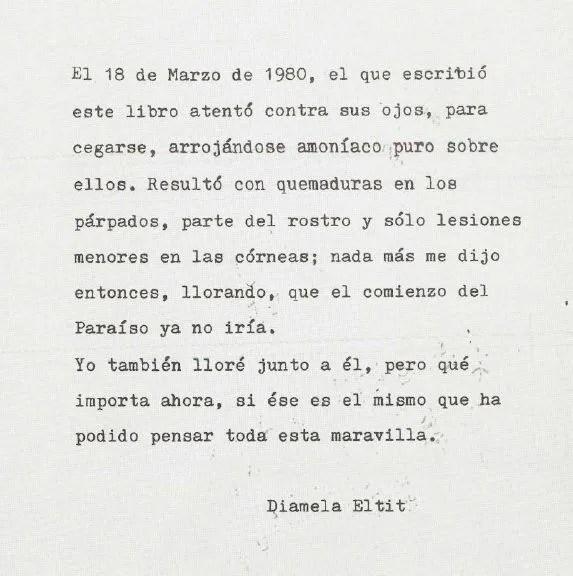 Nota final al poemario escrita por Diamela Eltit