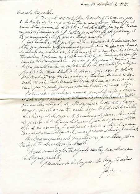 Carta 2 de Javier Sologuren a Reynaldo Jiménez.