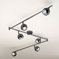 Large Modern Black Chrome 6 Way Mains GU10 Ceiling Spot ...