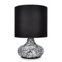 Modern Crackled Mirror Base Table / Desk Lamp Light Black ...