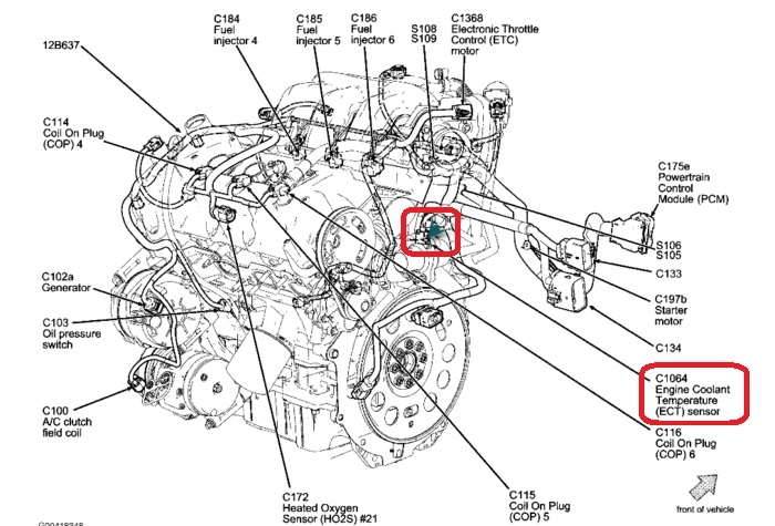 2006 ford 3 0 Diagrama del motor