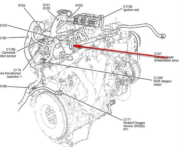 2002 ford escape 3 0 Diagrama del motor