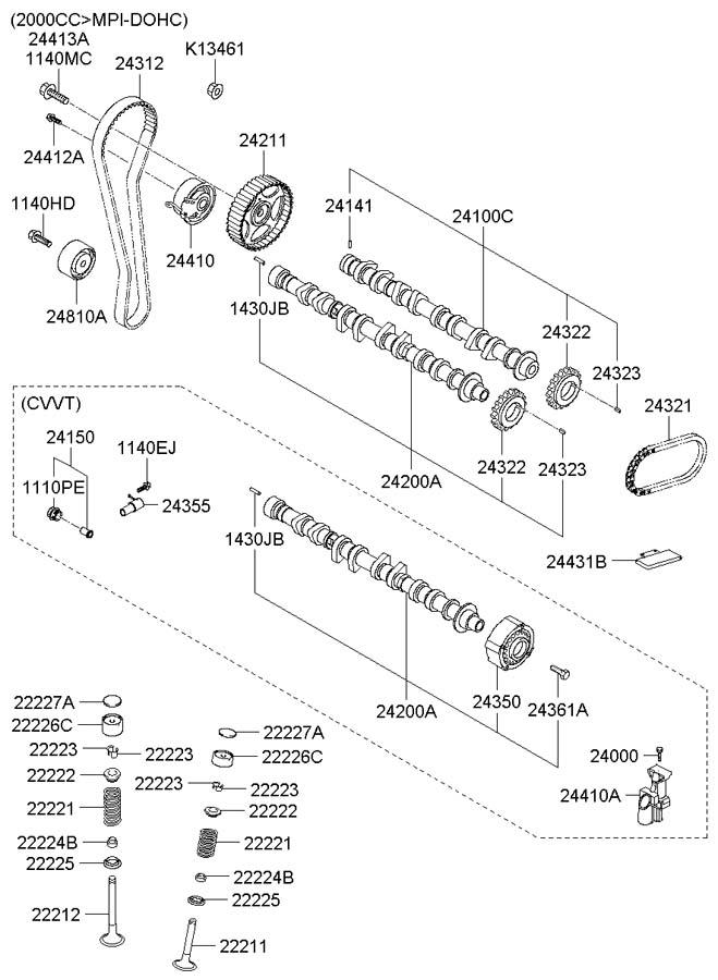 2013 hyundai elantra Diagrama del motor