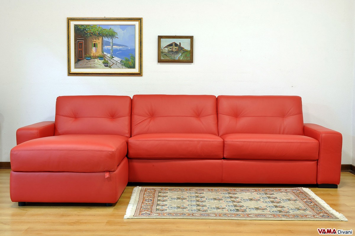 Orange Leather Sofas Corner Sofa Bed In Leather With