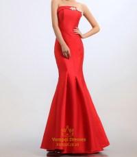 Red Mermaid Prom Dresses 2016,Strapless Beaded Long ...