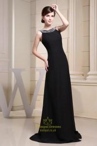 Long Black Chiffon Evening Dress, Floor-Length Black ...
