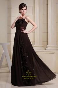 Long Brown Evening Dresses, Chocolate Brown Chiffon ...