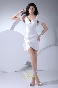 Elegant White Mini Dress With Jacket,Short V-Neck White ...