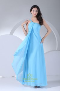 Blue One Shoulder Chiffon Dress,Blue One Shoulder ...