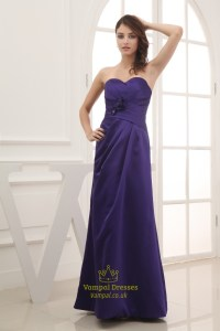 Long Purple Satin Bridesmaid Dresses, Long Strapless