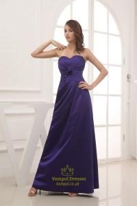 Long Purple Satin Bridesmaid Dresses, Long Strapless ...