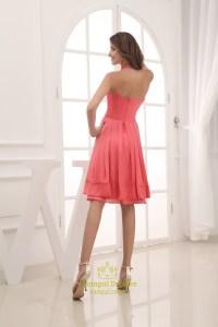 Coral Halter Bridesmaid Dresses, Short Chiffon Halter ...