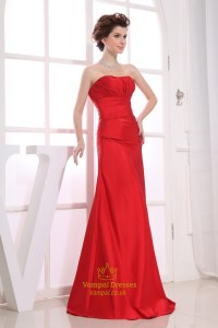 Long Red Bridesmaid Dresses, Sweetheart Long Pleated ...