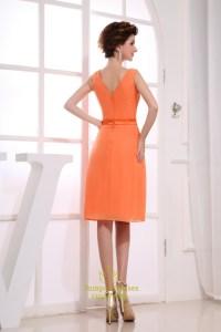 Orange Chiffon Cocktail Dresses, Short V Neck Bridesmaid ...