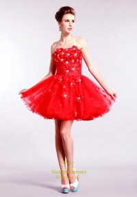 Red Strapless Homecoming Dresses, Short Red Prom Dresses ...