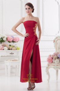 Long Red Strapless Prom Dresses,Red Bridesmaid Dresses ...