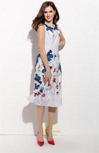 Casual Sleeveless Floral Print Chiffon Tea Length Dress ...