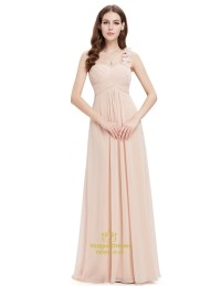 Champagne Sweetheart One Shoulder Chiffon Bridesmaid ...