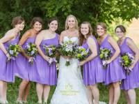 Lavender One Shoulder Ruched Knee Length Bridesmaid Dress