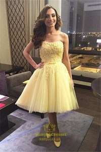 Yellow Strapless Short Lace Embellished Bridesmaid Dress ...