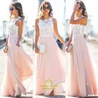 Pink Lace Bodice Chiffon Skirt A Line Long Bridesmaid ...