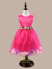 Pink Ball Gown Knee Length Flower Girl Dresses With Rose ...