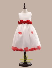 Scoop Neck Ball Gown Short Flower Girl Dress With Rose ...
