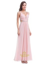 Light Pink Chiffon Cut Out Waist Bridesmaid Dress With ...
