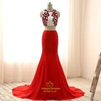 Red Two-Piece Sleeveless Mermaid Chiffon Prom Dress With ...