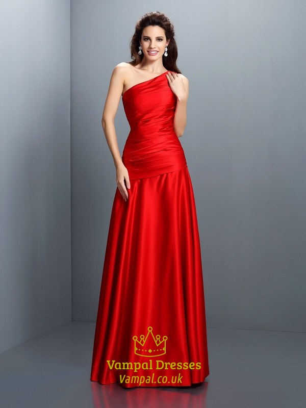 Simple Elegant Red One Shoulder Drop Waist Floor Length Evening