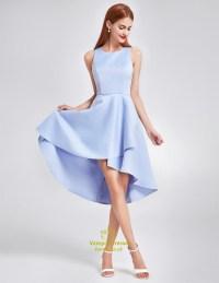 Light Blue A-Line Simple Sleeveless Knee Length High Low ...