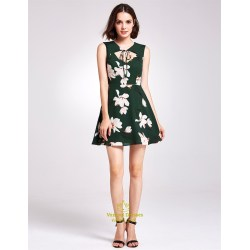 Charmful Keyhole Green Dress Green Dressy Dress Keyhole Green Floral Sleeveless Knee Length Dress Green Floral Sleeveless Knee Length Dress