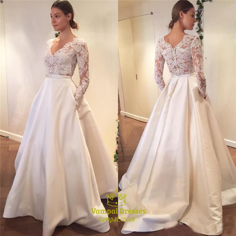 Simple Elegant Long Sleeve V-Neck A-Line Lace Top Satin Wedding