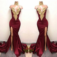 Sexy Burgundy Mermaid High Neck High Split Gold Lace ...