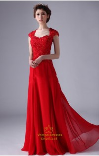 Red Cap Sleeve Prom Dresses ,Red Long Chiffon Prom Dress