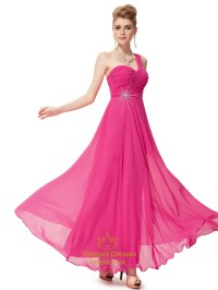 One Shoulder Bridesmaid Dresses Pink Chiffon,Pink One ...