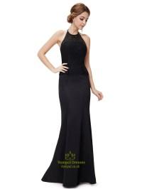 Black Mermaid Dress Open Back,High Neck Mermaid Prom ...