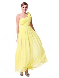 Yellow One Shoulder Bridesmaid Dresses Chiffon,Long One ...